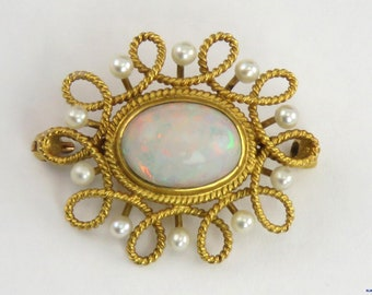 Gorgeous Antique 14K Gold Fiery Opal & Natural Pearl Pin/Brooch