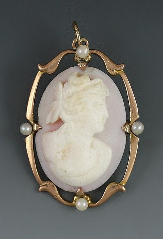Classical Carved Shell Cameo 10k Gold Pearl Pin/Pe