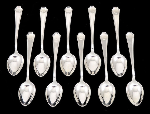 "s no monogram Whiting Oval Twist sterling silver 4 1//8/"" demitasse spoon"