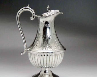 Fab late 1800s English Silverplate Engraved Syrup Pitcher / Jug