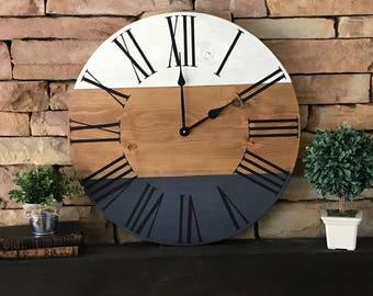 24 Inch Farmhouse Clock Rustic Wall Three Tone Oversized Home Decor