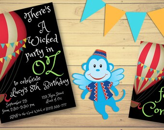 Wizard Of Oz Party Package Birthday Supplies Themed INSTANT DIGITAL DOWNLOAD Invitation