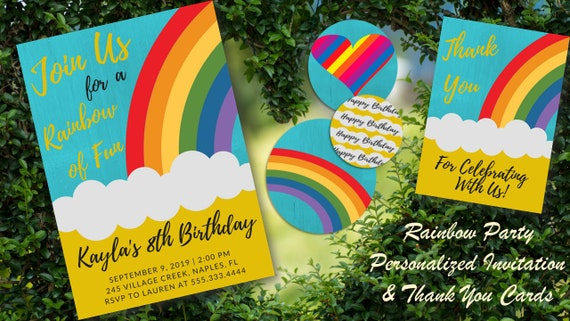Rainbow Party Printables Package DIY Birthday