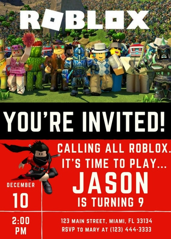 Roblox Themed Party Supplies, roblox party invitation, roblox birthday  banner, roblox thank you cards, roblox birthday decorations