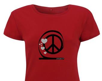 khamo Women's Regular Fitted Shirt - Peace Hearts