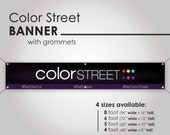 Color Street Horizontal Banner with Grommets - Simple Logo and Slogan - Black Banner with Purple -PRINTED and SHIPPED directly to YOU