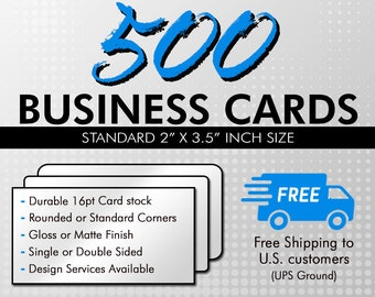 500 business cards etsy 500 business cards business card printing durable 16pt uv gloss or matte finish standard or rounded corners shipped directly to you colourmoves