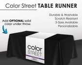 Color Street Table Runner - White with Full Color Logo - Purple Line - Double Sided Print - PRINTED and SHIPPED directly to YOU