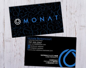 Monat business cards personalized picture with black and monat business cards black with monat blue pattern digital download only flattened print reheart Choice Image