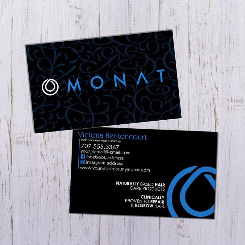 Monat PDF Pret Impression Cartes De Visite Noir Avec Motif