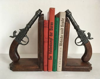 Wooden bookends, vintage bookends, western decor, pirates decor, man cave book ends, western guns bookends, carved bookends, lodge decor