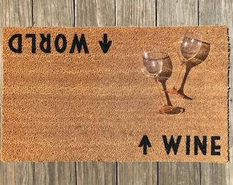 Wine / World™ Door Mat (doormat) - Perfect Housewarming Gift, Wine Lover, World Traveler