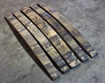 5 Pack Oak Whiskey Barrel Staves - Rustic Wood - Charred on the Back - Authentic Whiskey Barrel Project Wood for DIY Projects - Reclaimed
