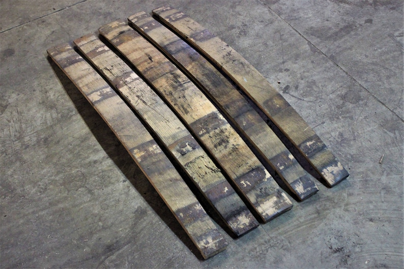 5 Pack Oak Whiskey Barrel Staves  Rustic Wood  Charred on image 0