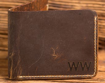 Monogrammed Wallet, Wallets for Men Groomsmen Gift, Best Man, Gifts for Him, Personalized Wallet, Rustic Leather Wallet Distressed ZB36
