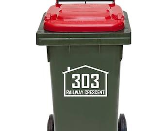 Wheelie Bin Sign house number street name Decal Rubbish bin sticker