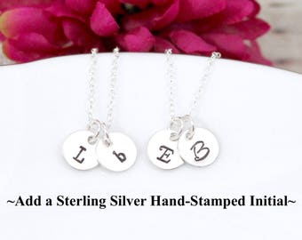 Sterling Silver Hand Stamped Initial Charm - Number Charm - Make your own charm necklace - Charm it Yourself