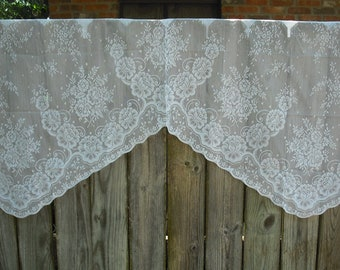 192 S Vintage White Lace Valence With Deep Scalloped Edge, Bathroom,  Kitchen, Door Window, 32 X 18