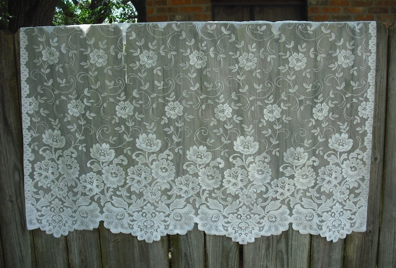 108 x 72 HOLIDAY SPECIAL  ***Was 32.00 Now 27.00 *** 2214  CPR Pair of Vintage Ivory Lace Floral Curtain Panel Shabby Chic