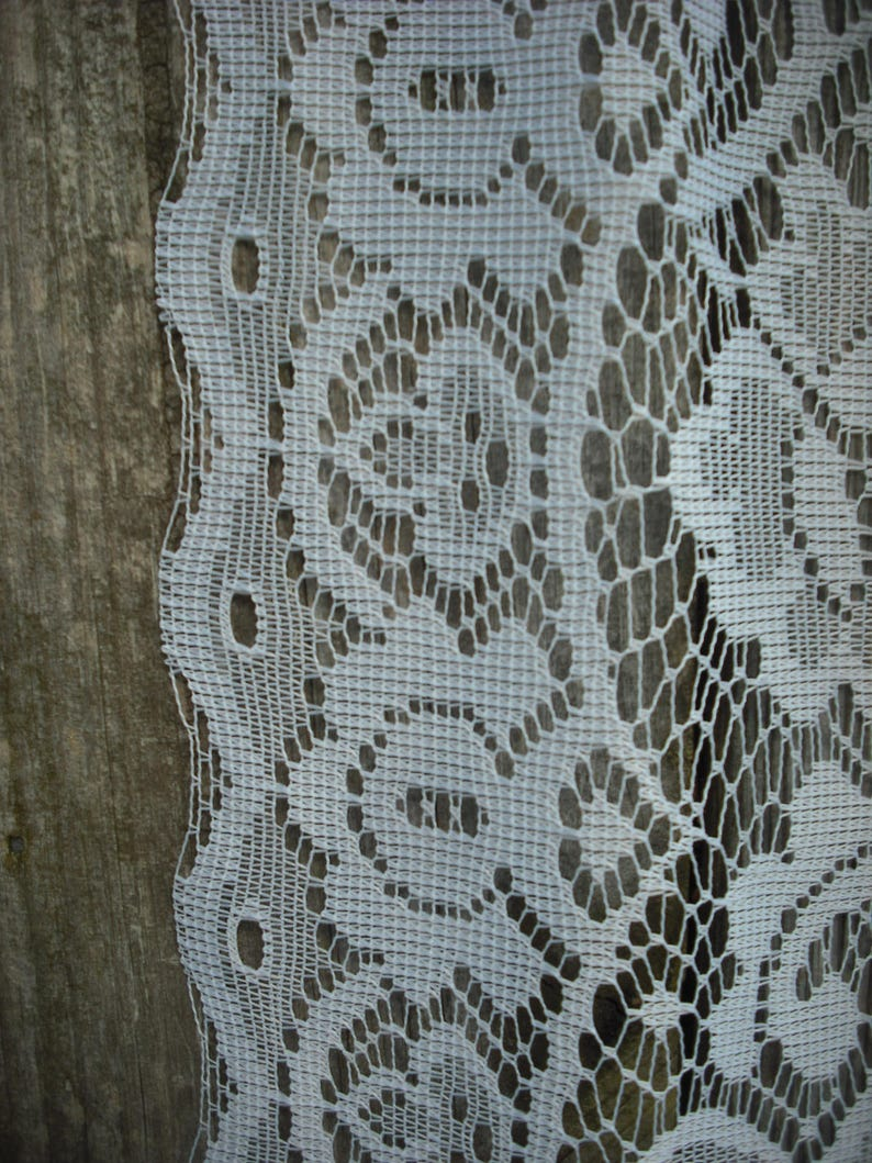 Cottage Chic 84 X 3913 2169 S Ivory Pair of Floral Lace Swags; Shabby Chic