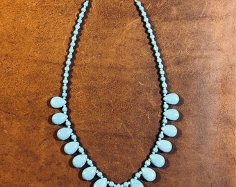 Turquoise teardrop beaded necklace
