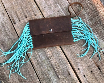 Leather fringe clutch