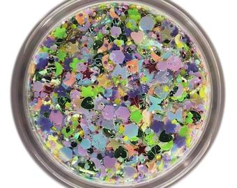 Pastel Rainbow UV Unicorn • Festival Glitter •  Glitter Makeup • Chunky Cosmetic Glitter | Dance - Eyes, Lips, Face | Face Paint Glitter
