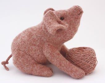 Pig, Pink Pig, Knitting pattern and felting Kit