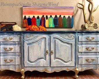 Vintage Buffet, Entryway Furniture, Vintage Sideboard, Hand Painted, Blue  Dresser, White Buffet, Ornate Gold SOLD SOLD SOLD