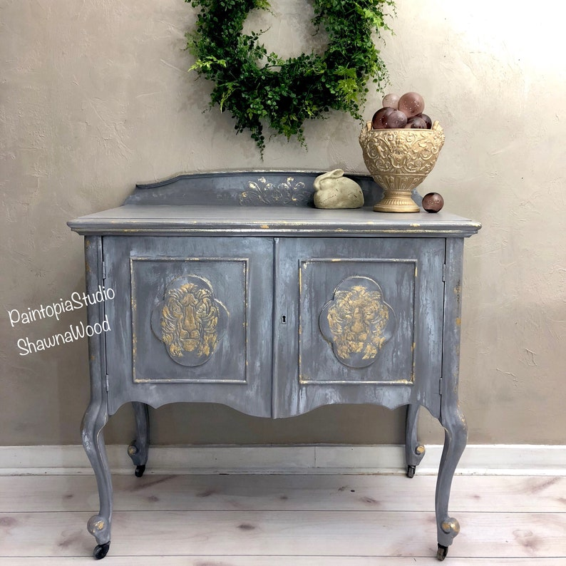 Ordinaire Vintage Painted Buffet , Gray Gold Server, Hand Painted Sideboard , Hand  Painted Furniture, Gray Gold