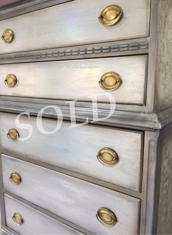 Vintage Dresser, Gray Chest, Drawers, White,Gold, Hand Painted, Damask,  Mother of Pearl SOLD SOLD SOLD