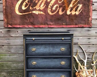 Vintage Black Dresser ~ Gray Chest~ Chest of Drawers ~ Black ~ Gold ~ Hand Painted ~ Furniture