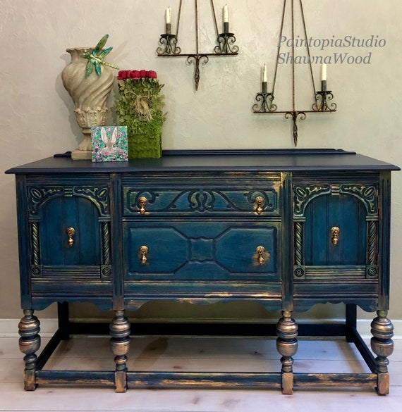 Vintage Sideboard - Dining Room Buffet Sideboard - Jacobean Buffet - Ornate  Buffet Table - Console Cabinet- Blue - Copper - SOLD SOLD SOLD