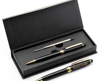 Free Engraving - Brass Ballpoint Pen, Engraved Pen, Black Refill Pen, Custom engraved pen, Personalized Pen, Anniversary, groomsmen Gift