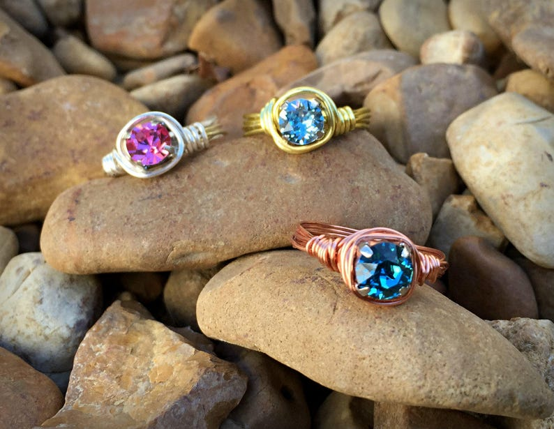 Various Crystals GOLD Copper Wire Ring