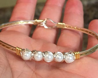 pearl wire bracelet silver, gold, or mixed