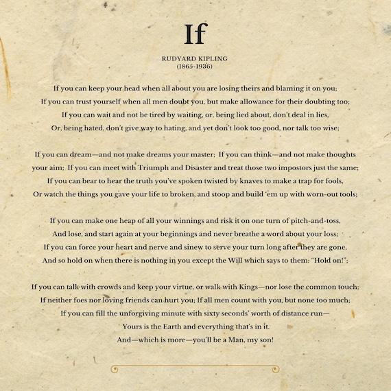 matriz Almuerzo tomar  IF Poema de Rudyard Kipling Archivo descargable digital | Etsy