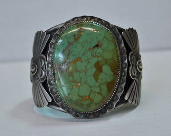 Solid Silver and Turquoise Native American Mens Cuff Bracelet - Signed OT
