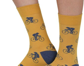 Aeroplane bamboo organic crew socks in yellowBy seriouslysillysocks