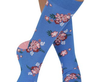 Flower Chintz bamboo organic crew socks in blue | seriouslysillysocks
