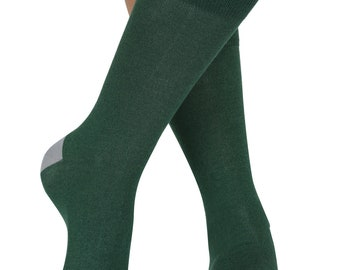 Plain soft bamboo organic crew socks in green | By seriouslysillysocks