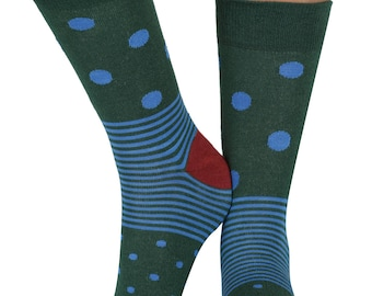 Spot n Stripe bamboo organic crew socks in green | seriouslysillysocks