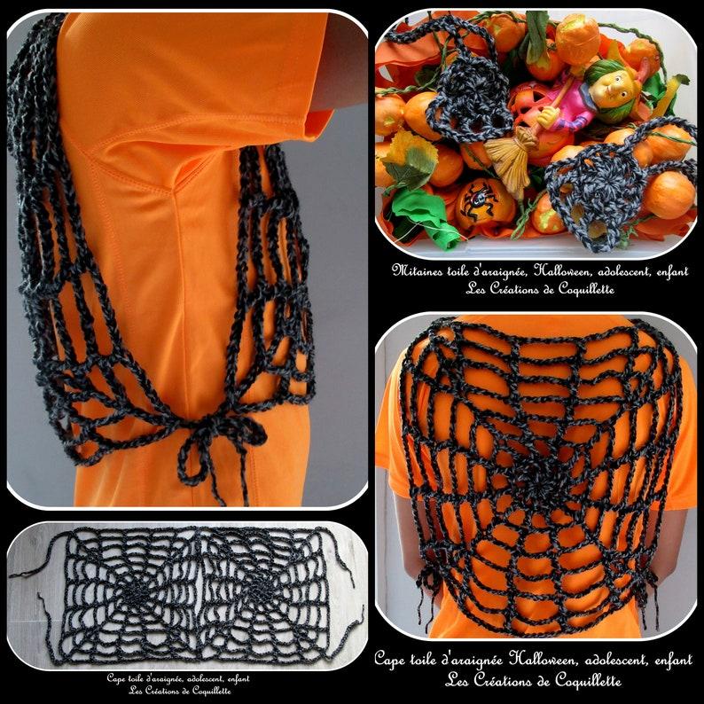 gift handmade child mittens crochet disguise adult grayblack cobweb teen Cape unisex handmade Halloween