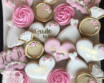 bridal shower hand decorated custom cookies personalized