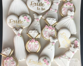 garden party bridal shower hand decorated custom cookies personalized