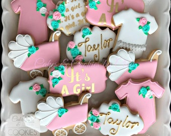 Girl Baby Shower Hand Decorated Custom Cookies with Name Gold Hand Painted and Gold Airbrushing