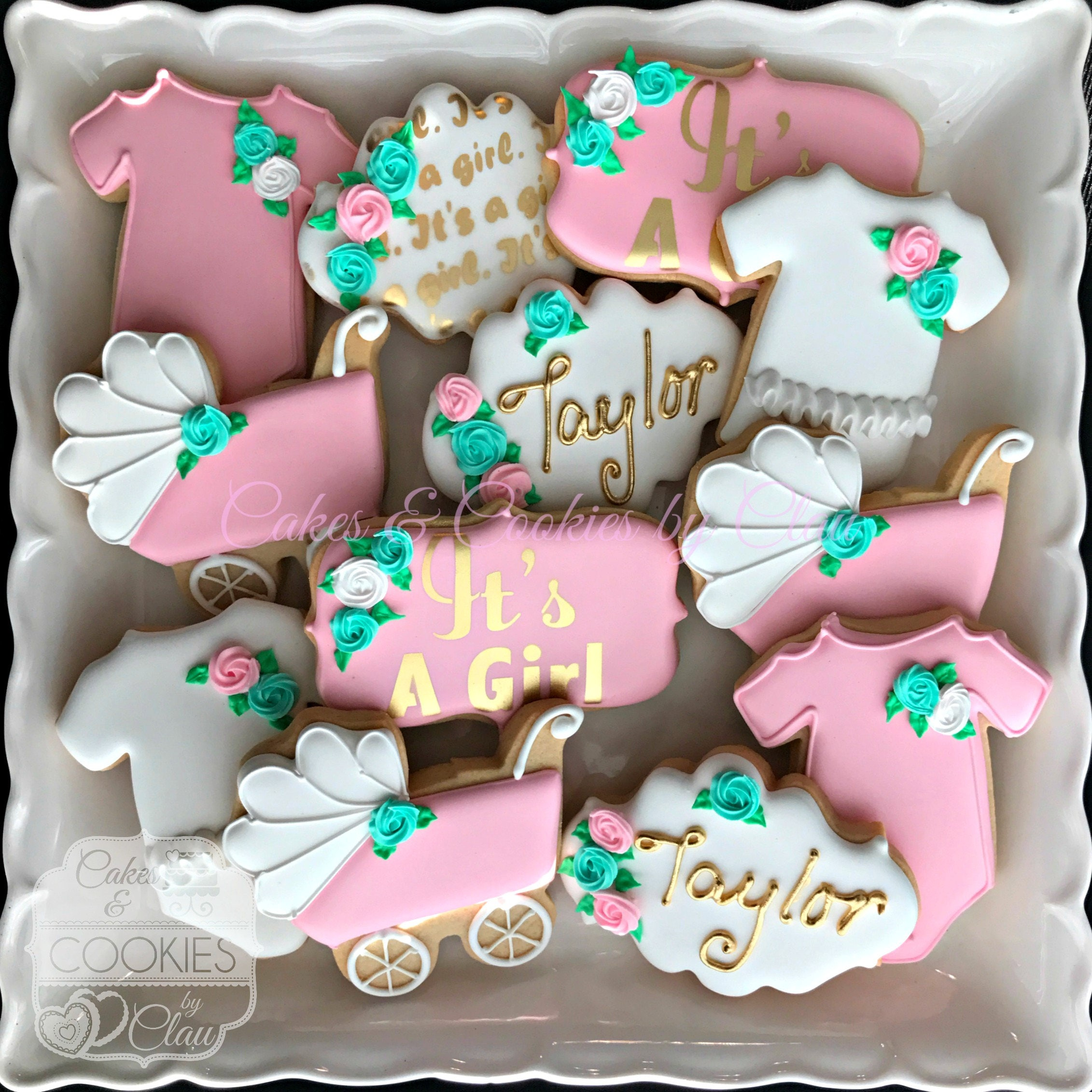 Girl Baby Shower Hand Decorated Custom Cookies With Name Gold