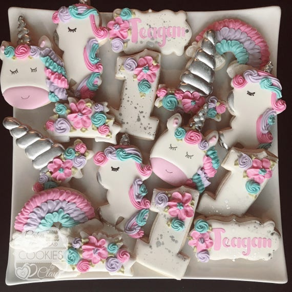 Unicorn Birthday Custom Decorated Cookies In Gold Or