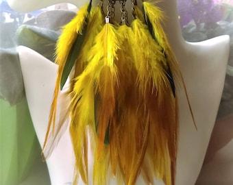 feathers earrings, boho elegant