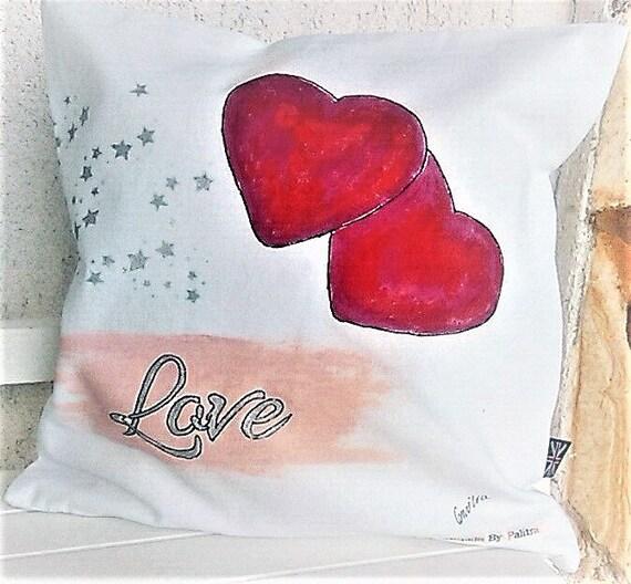 Housse de coussin décoratif, à la main, peint à la main, la Saint-Valentin est présente